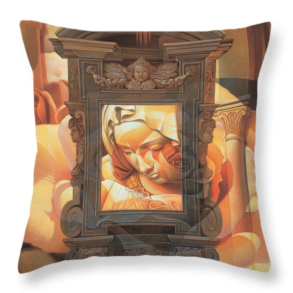 Pieta Throw Pillow by Mia Tavonatti