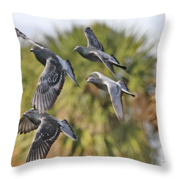 Pigeon Brigade Throw Pillow by Deborah Benoit