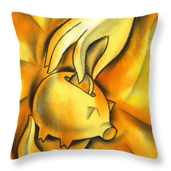 Piggy bank Throw Pillow by Leon Zernitsky
