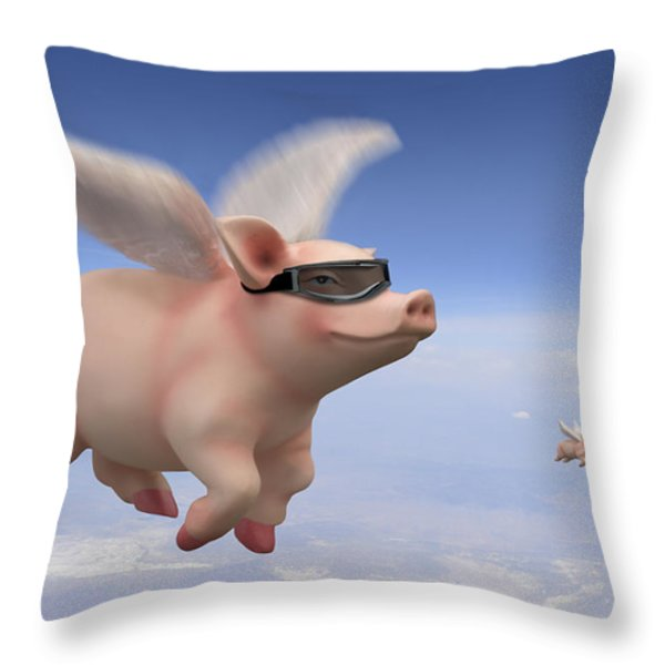 Pigs Fly Throw Pillow by Mike McGlothlen