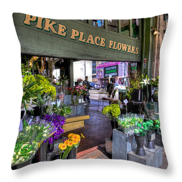 Pike Place Flowers Throw Pillow by Spencer McDonald