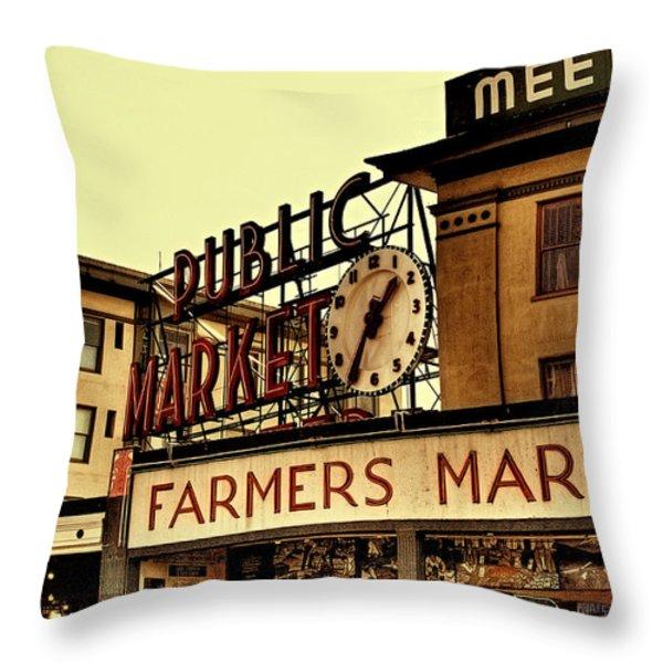 Pike Place Market - Seattle Washington Throw Pillow by David Patterson