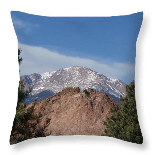 Pikes Peak 2 Throw Pillow by Ernie Echols
