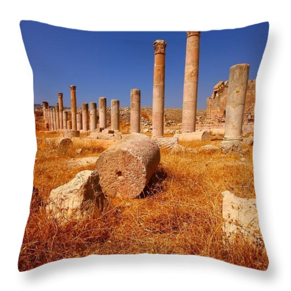 Pillars Of Ruin Throw Pillow by FireFlux Studios