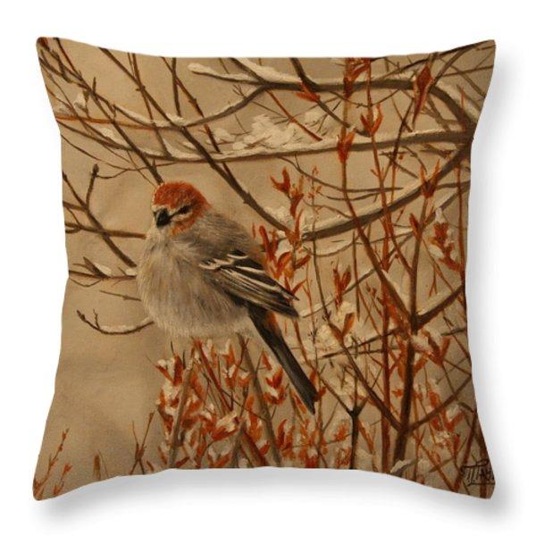 Pine Grosbeak Throw Pillow by Tammy  Taylor