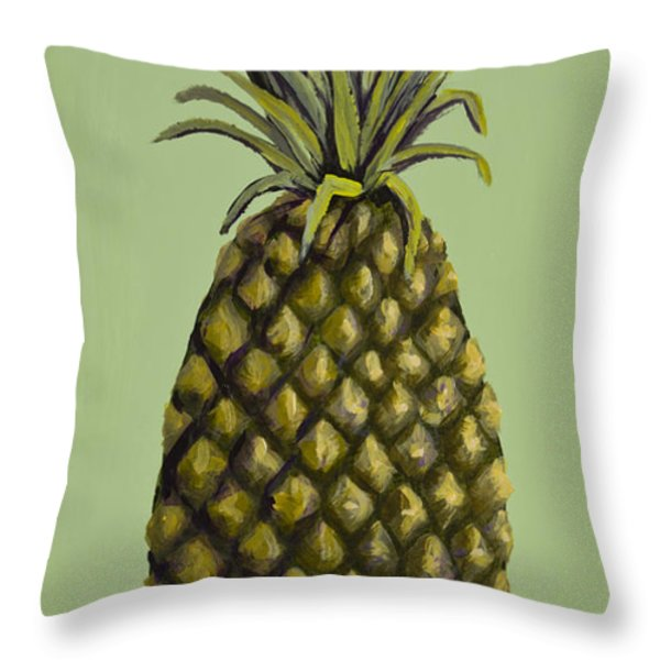 Pineapple On Green Throw Pillow by Darice Machel McGuire