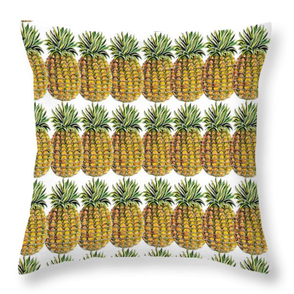 Pineapple Parade Throw Pillow by John Keaton