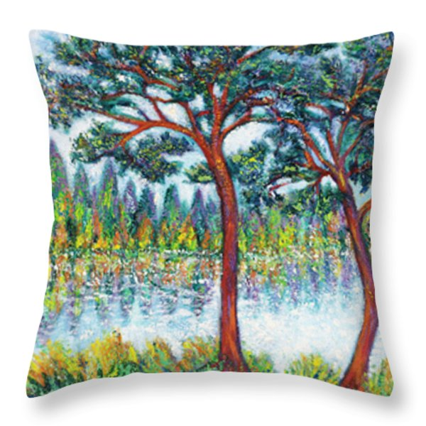 PINES at LAKESIDE Throw Pillow by Gunter  Hortz