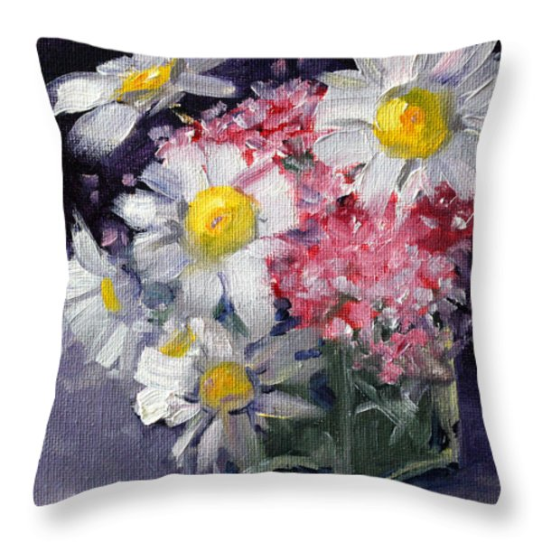 Pink And White Throw Pillow by Nancy Merkle