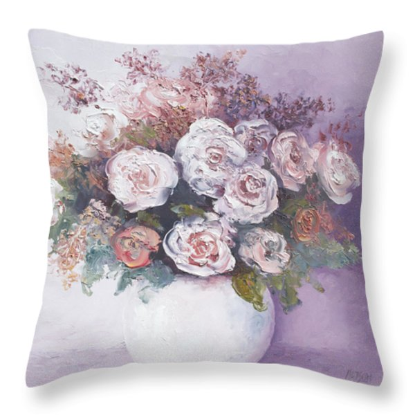 Pink and white roses Throw Pillow by Jan Matson