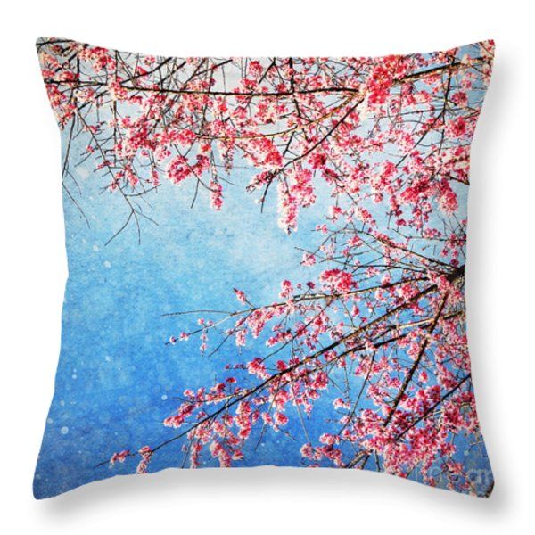 Pink Blossom Throw Pillow by Setsiri Silapasuwanchai