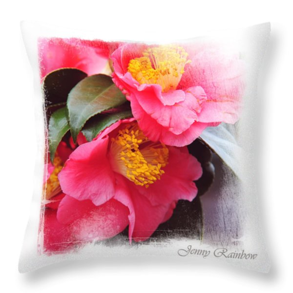 Pink Camellia. Elegant KnickKnacks Throw Pillow by Jenny Rainbow