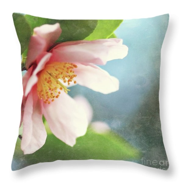 Pink Camellia Throw Pillow by Sylvia Cook