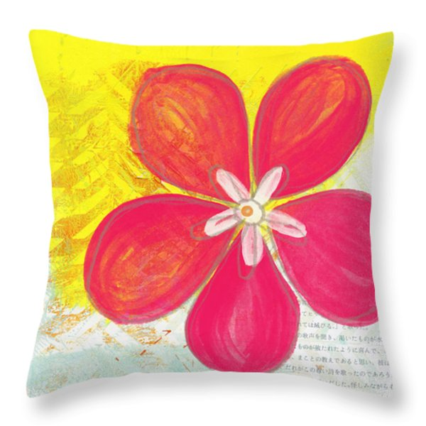 Pink Cherry Blossom Throw Pillow by Linda Woods