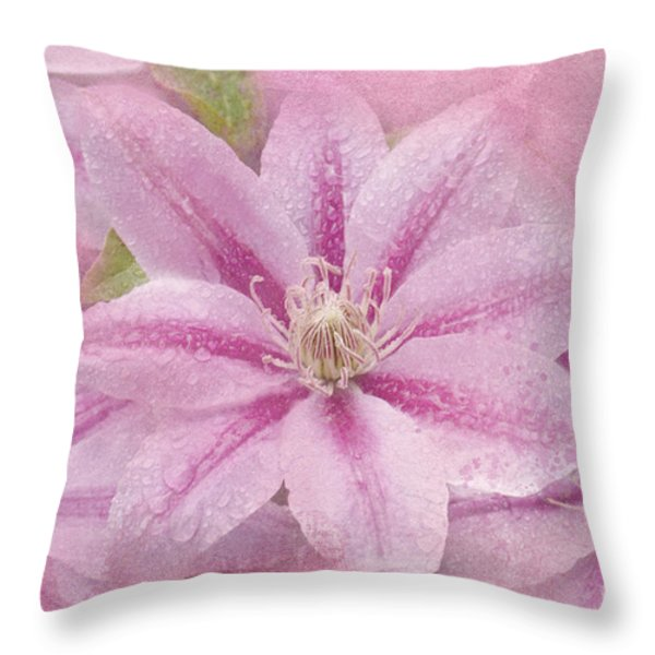 Pink Clematis Profusion Throw Pillow by Betty LaRue