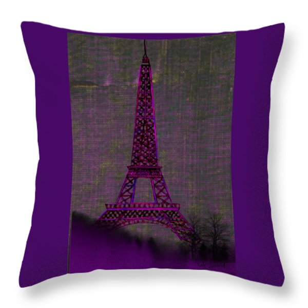 Pink Eiffel Tower Throw Pillow by Kate Farrant