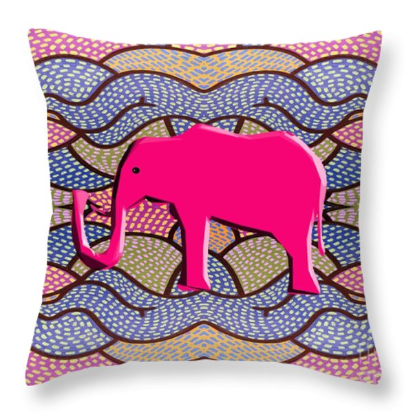 Pink Elephant Throw Pillow by Patrick J Murphy