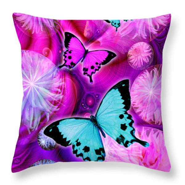 Pink Fantasy Flower Throw Pillow by Alixandra Mullins
