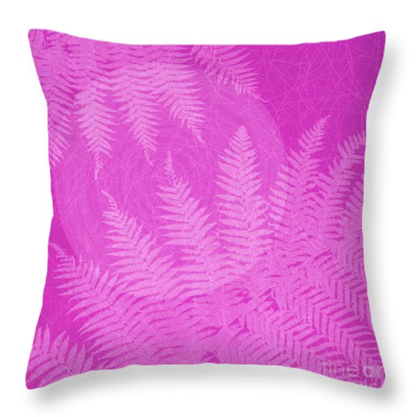 Pink Fern Pattern Throw Pillow by Tim Gainey