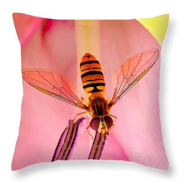 Pink Flower Fly Throw Pillow by Bill Caldwell -        ABeautifulSky Photography