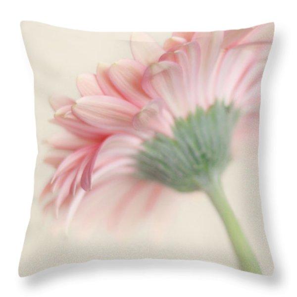 Pink Flower Photography - Pink Nursery Wall Art - Baby Girl Nursery Art - Pale Pink Mint Green Decor Throw Pillow by Amy Tyler