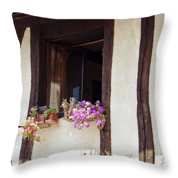 Pink Flowers at a Window Throw Pillow by Nomad Art And  Design