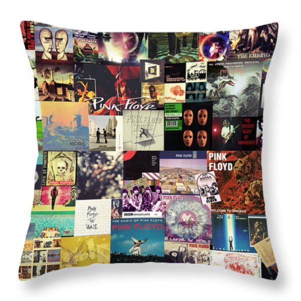 Pink Floyd Collage I Throw Pillow by Taylan Soyturk