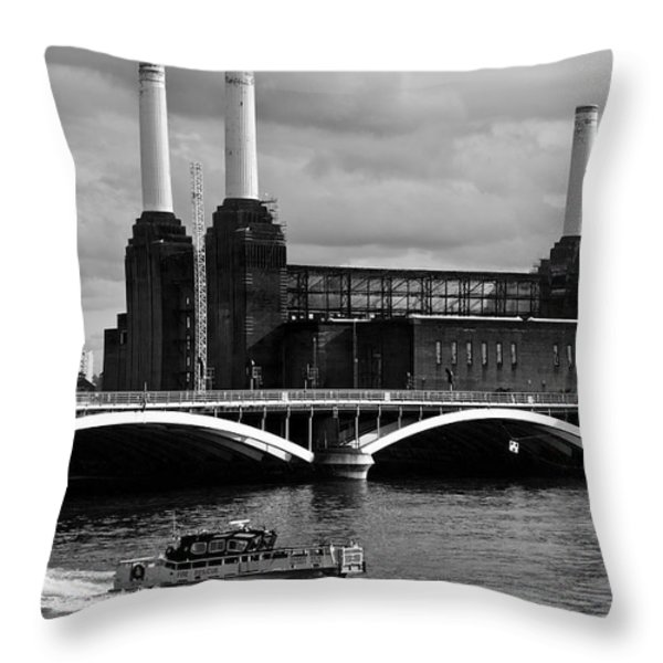 Pink Floyd's Pig at Battersea Throw Pillow by Dawn OConnor