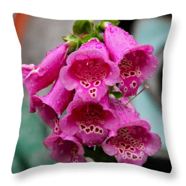 Pink Foxglove Throw Pillow by Karon Melillo DeVega