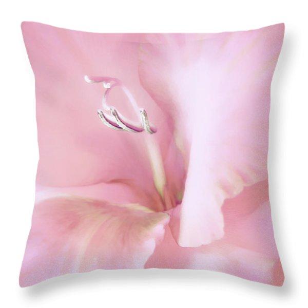Pink Gladiolus Flower Throw Pillow by Jennie Marie Schell