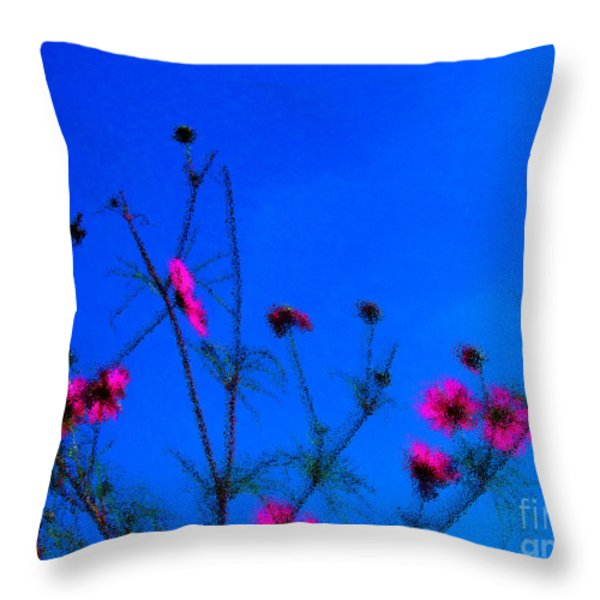 Pink Green And Blue Throw Pillow by Tina M Wenger