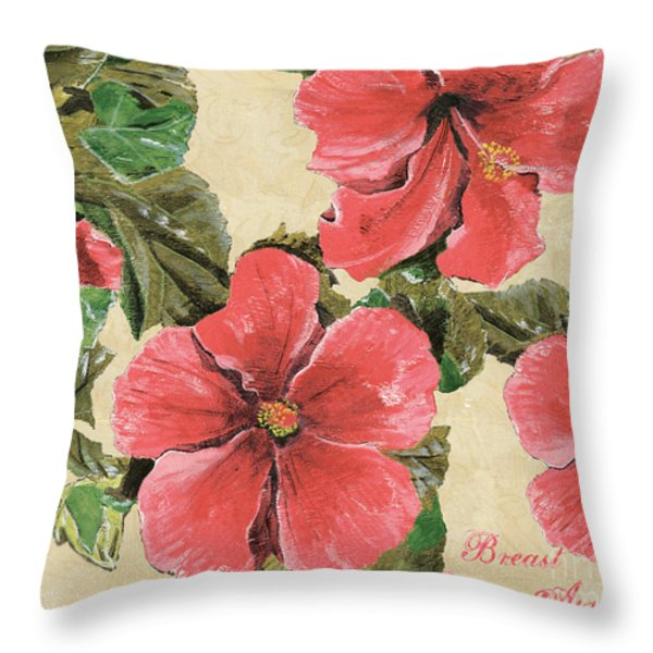 Pink Hibiscus Throw Pillow by Debbie DeWitt