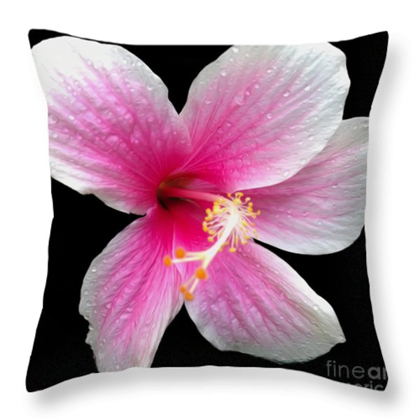 Pink Hibiscus In The Rain Painted Throw Pillow by Cheryl Young