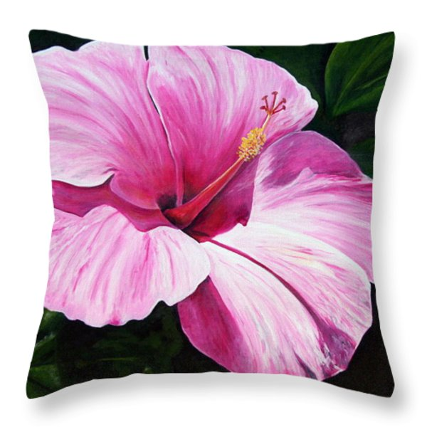 Pink Hibiscus Throw Pillow by Lyndsey Hatchwell