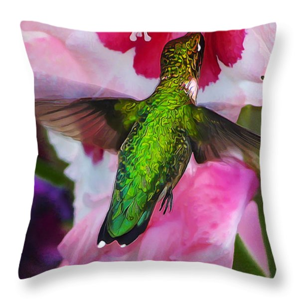 Pink Hummer Throw Pillow by Bill Caldwell -        ABeautifulSky Photography