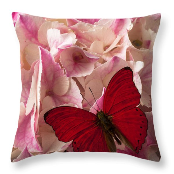 Pink Hydrangea With Red Butterfly Throw Pillow by Garry Gay