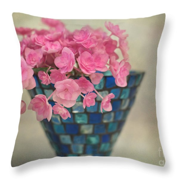 Pink Hydrangea's In A Vase Throw Pillow by Carolyn Rauh