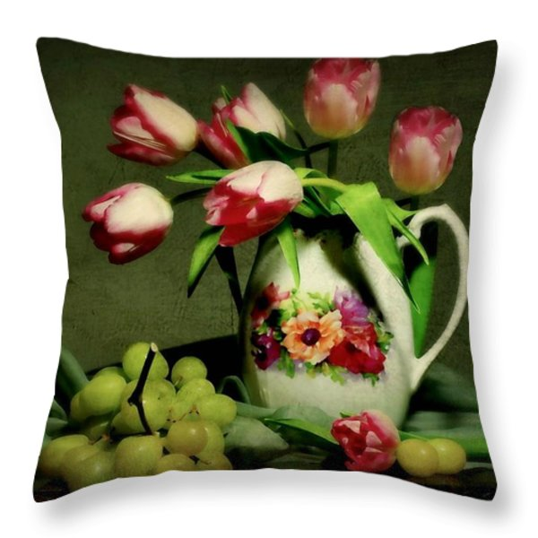 Pink in a Pitcher Throw Pillow by Diana Angstadt