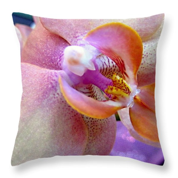 Pink Limonaid Orchids Macro Throw Pillow by Danielle  Parent