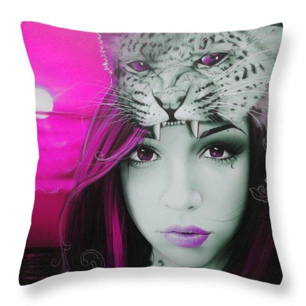 'Pink Moon' Throw Pillow by Christian Chapman Art
