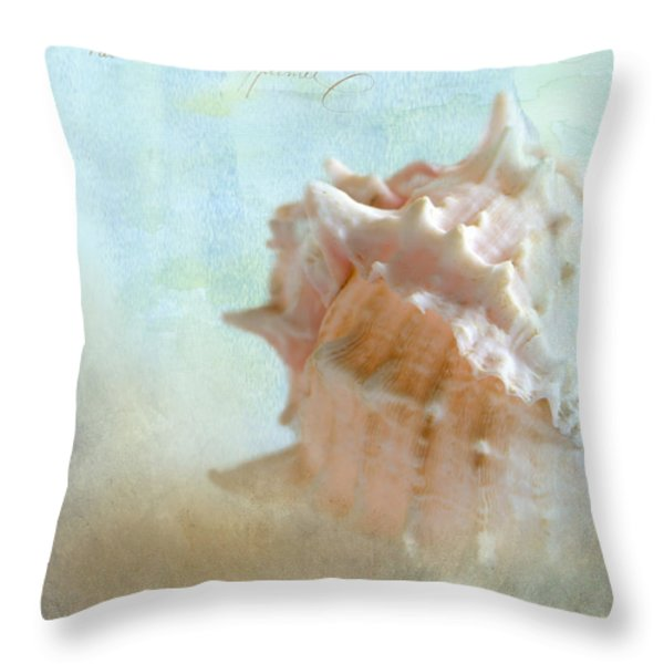 Pink Murex Seashell Throw Pillow by Betty LaRue