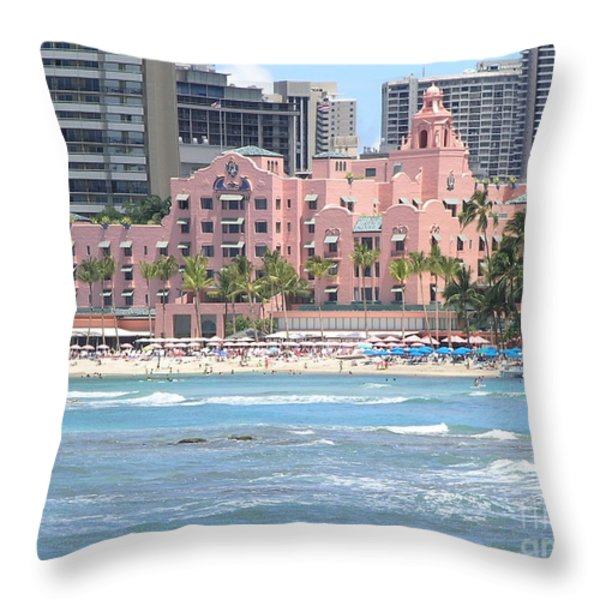 Pink Palace On Waikiki Beach Throw Pillow by Mary Deal