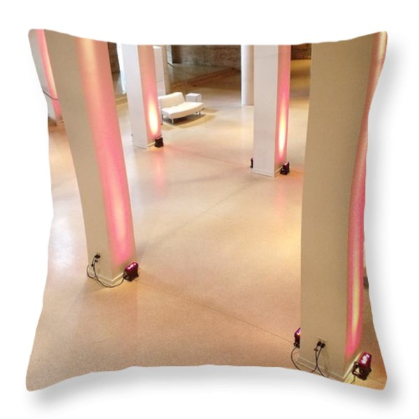 Pink Pillars I Throw Pillow by Anna Villarreal Garbis