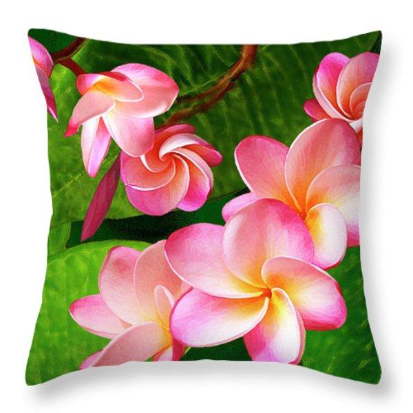 Pink Plumeria Throw Pillow by Ben and Raisa Gertsberg