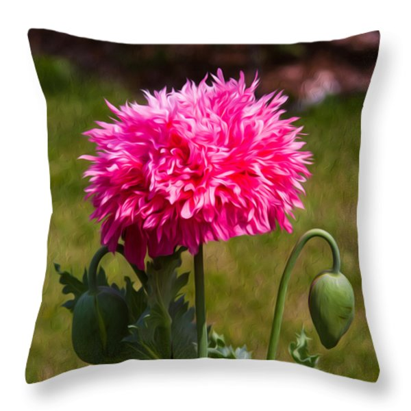 Pink Poppy Throw Pillow by Omaste Witkowski