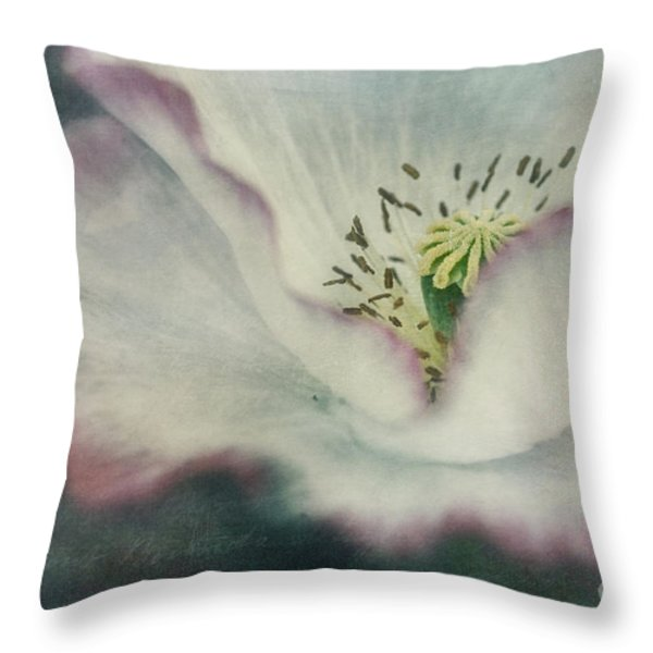 pink rimmed beauty Throw Pillow by Priska Wettstein