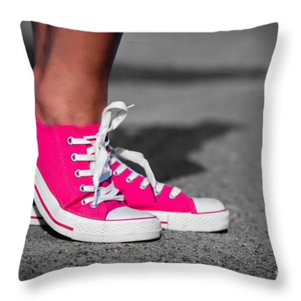 Pink Sneakers Throw Pillow by Michal Bednarek