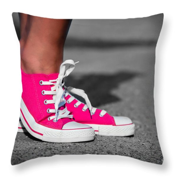 Pink sneakers  Throw Pillow by Michal Bednarek