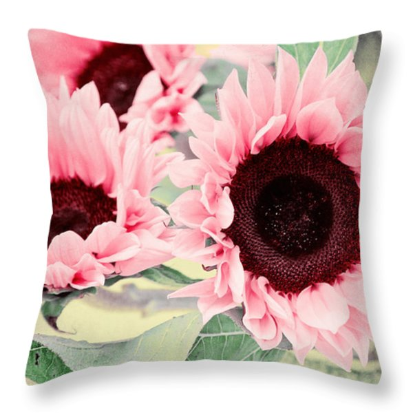 Pink Sunflowers Throw Pillow by Angela Doelling AD DESIGN Photo and PhotoArt