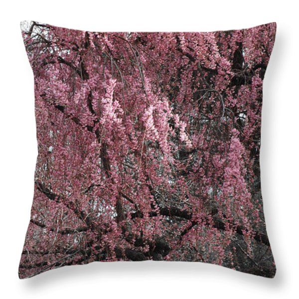 PINK TREE IN BLOOM Throw Pillow by ADSPICE STUDIOS